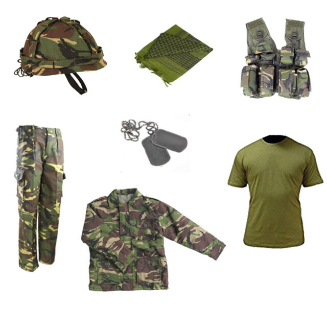 Kids Pack Children Cool Camo DPM Wellies T-shirt /& Trousers Outfit Army Military