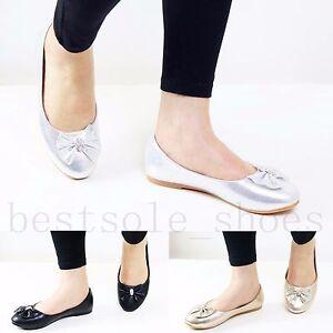 Womens Ladies Diamante Bow Flats Loafers Trainers Plimsolls Pumps Shoes Size Wir Nehmen Kunden Als Unsere GöTter Damenschuhe Damenschuhe