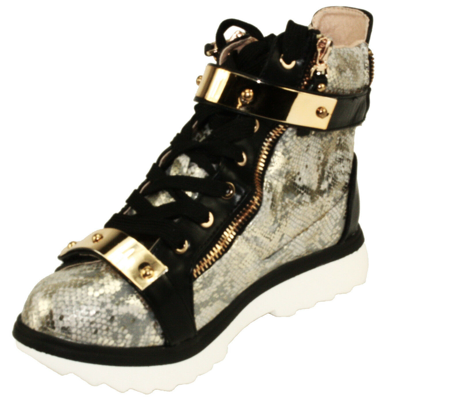 BellaMarie Women's Deejay-18 Lace Up gold Strap High Top Fashion Sneakers