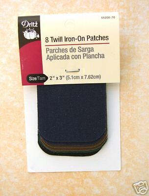 "Dritz Iron-On Patches 8 pc 2/"" x 3/"" Dark Twill Asst"