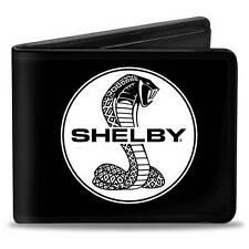 Men Wallet Bifold Ford Mustang SHELBY Tiffany Split Signature Black White Logo