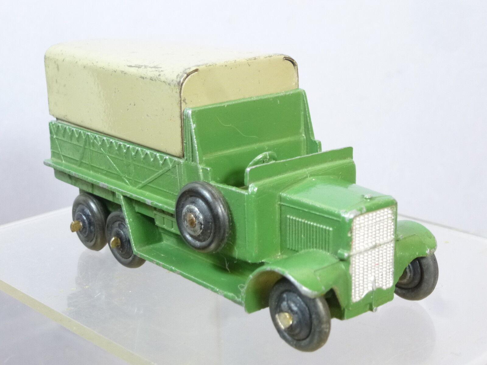 DINKY TOYS modello No.25s 6 RUOTE CARRO COPERTO  Dark verde & Fawn Tilt VERSIONE