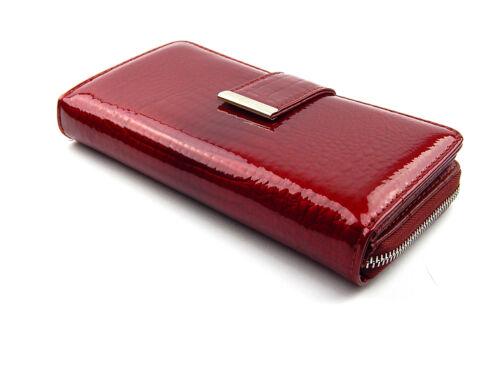 Jennifer Jones Portemonnaie Damen Lack Geldbörse Börse Portmonee echt Leder Rot