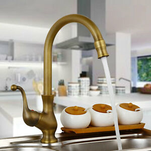 360 Swivel Antique Brass Kitchen Sink Faucet Spray Single Handle