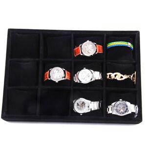 Velvet-12-COMPARTMENTS-Watch-Bracelet-Display-Tray-Case-Holder-Organizer