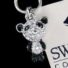 w Swarovski Crystal Black White Dainty Cute PANDA BEAR Chinese New Year Necklace