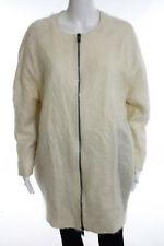 Top Shop Boutique Ivory Wool Long Sleeve Crew Neck Coat Jacket Size 2