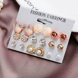 Sweet-9-Pairs-Set-Earrings-Women-Crystal-Pearl-Flower-Ear-Stud-Wedding-Jewelry