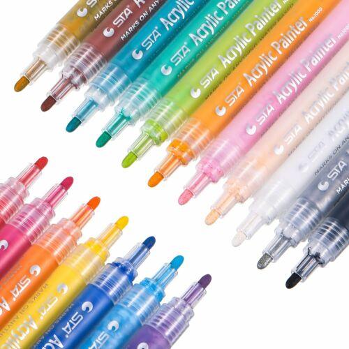 Rock /& Stone painting,Scrapbooking,Fabric Acrylic Paint Marker Pens Set Pebble