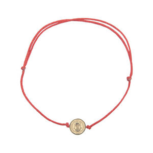 Saint Benedict Catholic inspirational adjustable red cord bracelet SSBSBMH-REDG