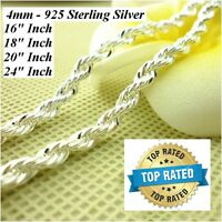 Women's Men's 925 Sterling Silver Rope 8- 16 -18 - 20 - 24 Necklace Dm184
