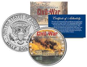 American-Civil-War-BATTLE-OF-FORT-SUMTER-JFK-Kennedy-Half-Dollar-U-S-Coin