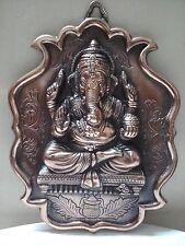 Wall Hanging Lord Ganesha Statue Copper Plated Ganesh Elephant God Figure Metal