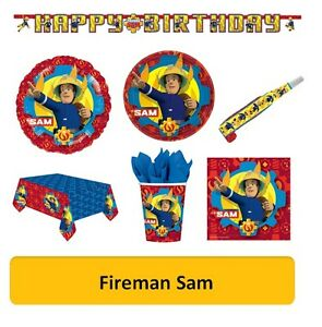 FIREMAN-SAM-Birthday-Party-Range-Tableware-Balloons-amp-Decorations