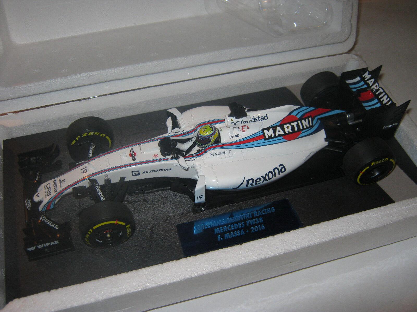 1 18 WILLIAMS MERCEDES fw38 F. Massa 2016 MINICHAMPS 117160019 neuf dans sa boîte New