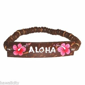 "Hawaiian Jewelry Coconut Shell Hand Painted /""Hawaii/"" Elastic Bracelet Yellow"