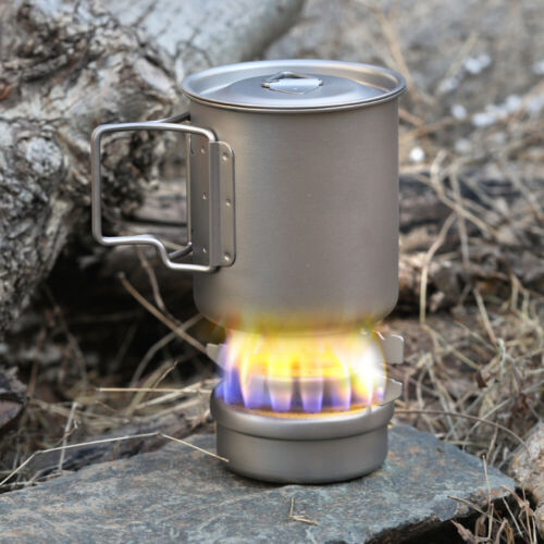 Outdoor Camping Mini Titanium Alcoho Stove with Lid Cross Stove Stand Rack@ D3V1