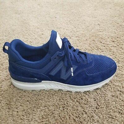 39 New Balance Mens 574 Sport XMS574BLB Blue Suede Shoes Size 8.5 9.5