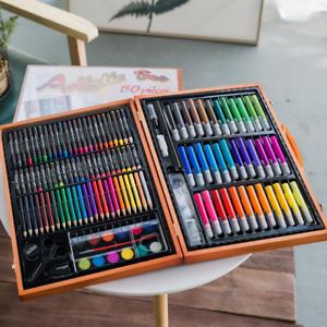 150pcs wooden art box set pastel water crayon colouring painting