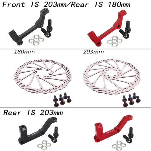 MTB Bike 160//180//203mm Disc Brake 6 Bolts Rotor PM//IS Brake Adapter Caliper CNC