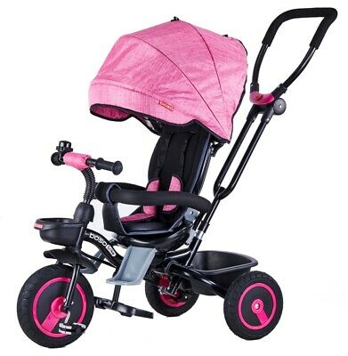 Triciclo Passeggino Pieghevole Con Seggiolino Reversibile 4 In 1 Boso New Pink Alta Resilienza