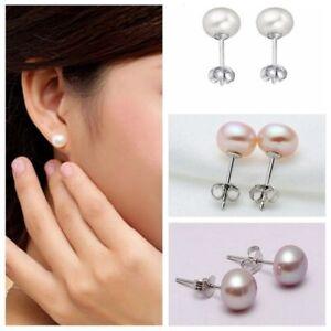 Women-925-sterling-Silver-Freshwater-Pearl-Ear-stud-Earrings-Jewellery-7-8mm