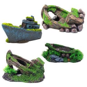 Moss Covered Small Boat Ship Wreck Aquarium Ornament Fish Tank Decoration Ebay