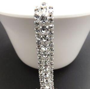 17-98-1m-50-cm-3-Reihen-Strass-Band-Strassborte-Silber-Crystal