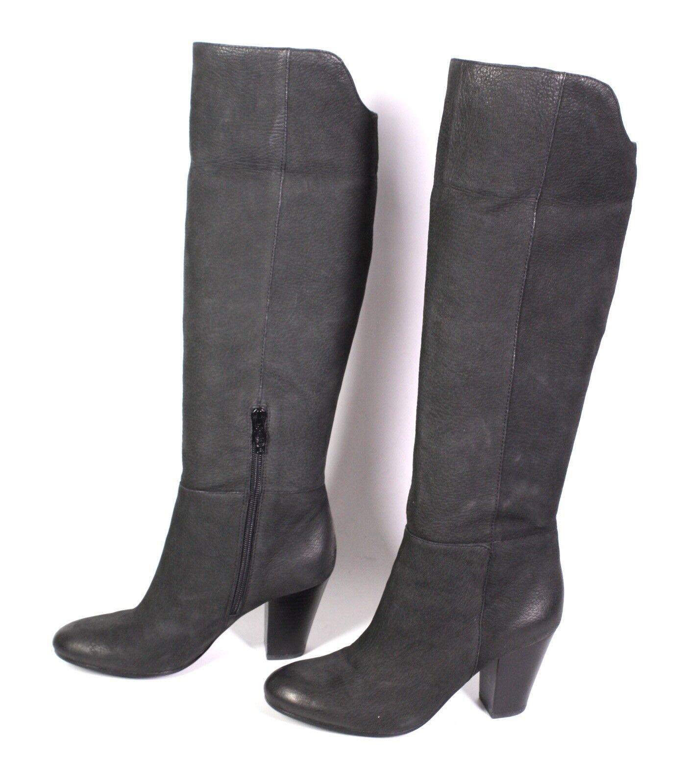 24S-CL ASH Damen Stiefel Stiefel Nubuk Leder schwarz Gr. 36 Blockabsatz Umschlag