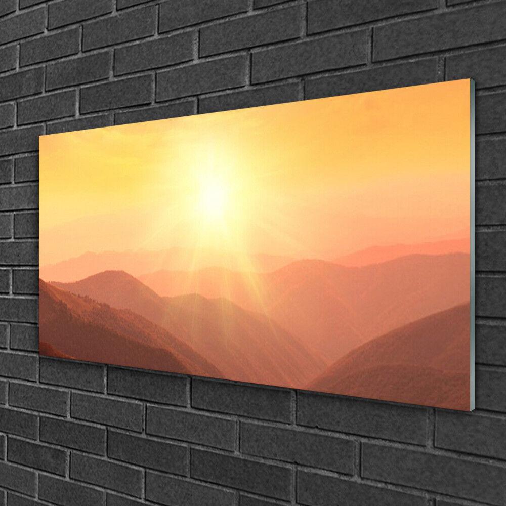 Glass print Wall art 100x50 Image Picture Sun Mountains Landscape