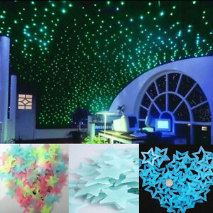 Details About 100x Wall Ceiling Glow In The Dark Stars Stickers Decal Baby Kids Bedroom Decor