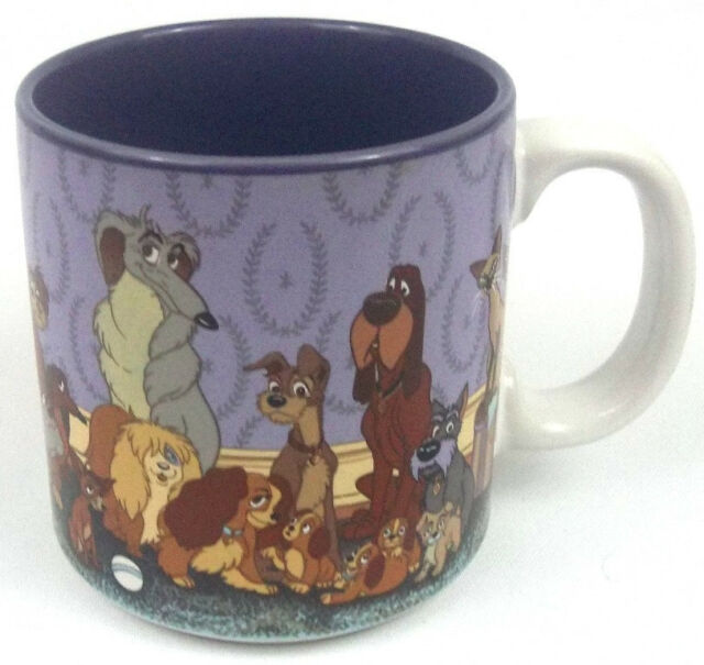 Disney Lady & The Tramp Coffee Cup Made in Japan Purple Never Used