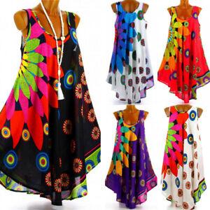 Women Boho Floral Sleeveless Vest Loose Short Dress Summer Beach Tunic Sundress