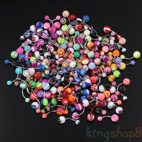 Lot Of 50 Mix Color Stainless Acrylic Ball Barbell Bar Navel Belly Button Ring