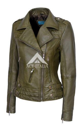 Femmes Veste en cuir vert olive Moto Style Motard 100/% Véritable Napa 5816