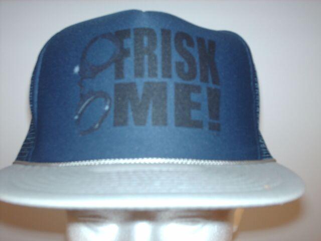 Mesh Foam trucker hat ball cap navy blue gray Frisk Me