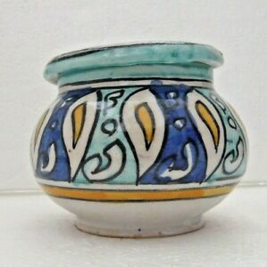 HAND-PAINTED-CERAMIC-2-PIECE-ASHTRAY-FES-POTTERY-MULTI-COLOUR