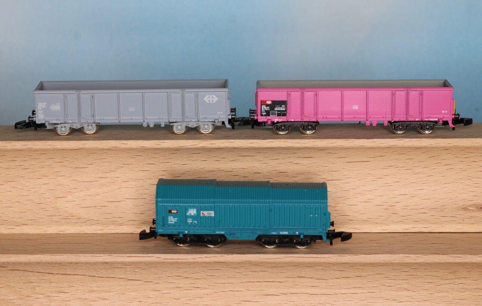 Märklin 8651, 8652, 8653, Spur Z, SBB Güterwagen-Set, 3-teilig, Ep. 5  | Verschiedene Waren