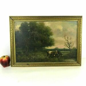 George-A-Hays-1854-1945-New-Hampshire-Pastoral-Landscape-W-Cattle-Oil-Canvas