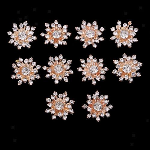 10pcs cristal strass fleur Flatback Boutons Dorés Craft Embellissement 15 mm