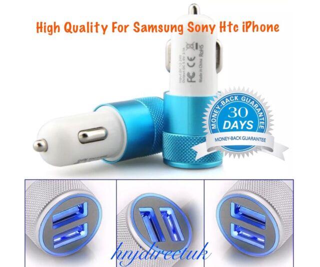 2 IN 1 UNIVERSAL LED USB 12-24V DUAL CAR CHARGER CIGARETTE SOCKET LIGHTER BLUE