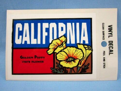 DECAL VINTAGE **CALIFORNIA GOLDEN POPPY STATE FLOWER** NEW OLD STOCK STICKER
