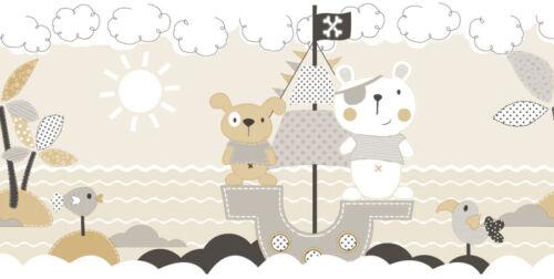 Rasch Textil Favola Vlies Bordüre 303299 Kinderzimmer Insel Piraten beige weiß