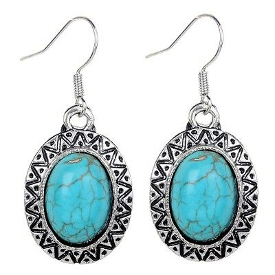 Nice Jewelry Tibetan Silver Oval Turquoise Hook Earrings Girls X-mas Party Gift