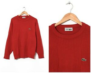 80s-Vintage-Mens-LACOSTE-Sweater-Jumper-Knitted-Red-Size-M