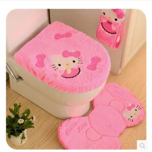 Image Is Loading New Hello Kitty Bathroom Set 4pcs Soft Toilet