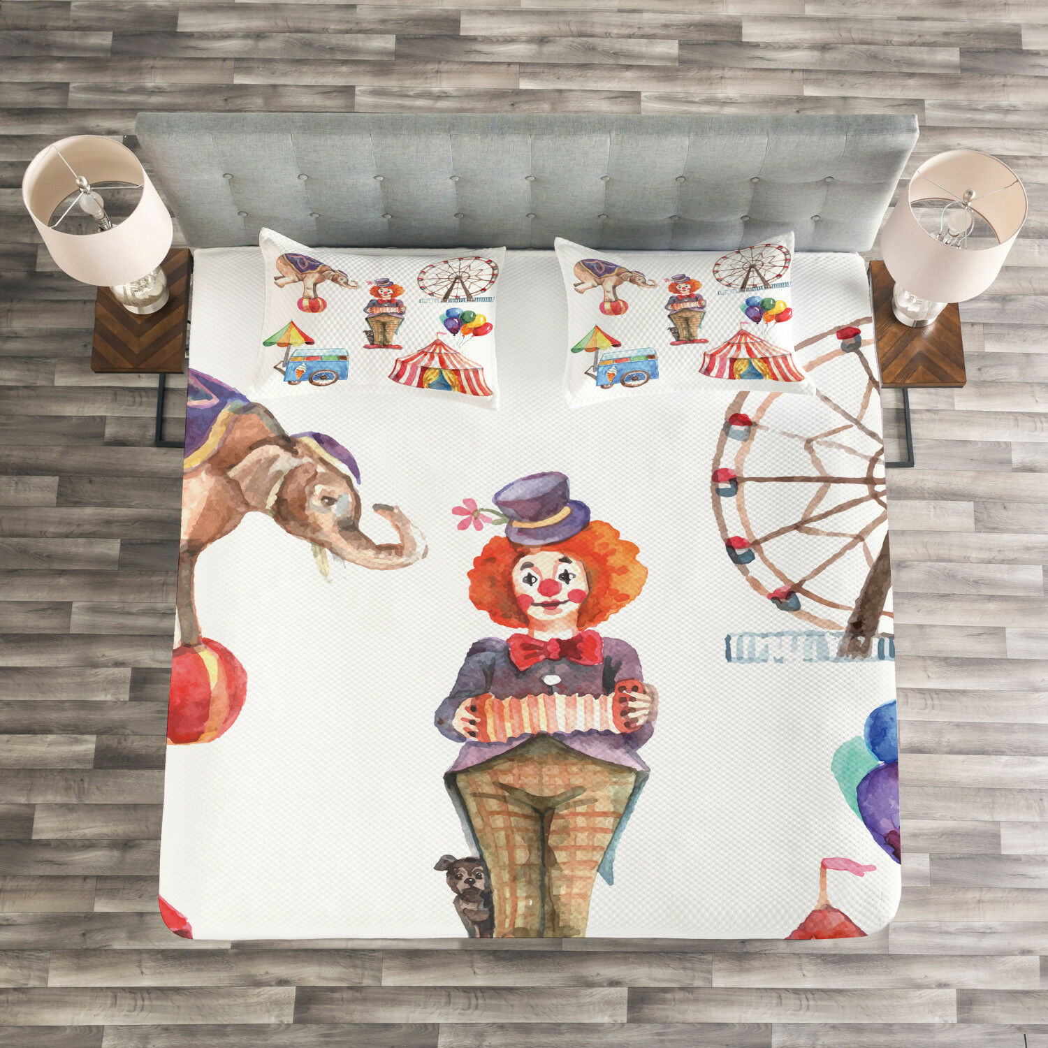 colorful Quilted Bedspread & Pillow Shams Set, Clown Elephant Circus Print