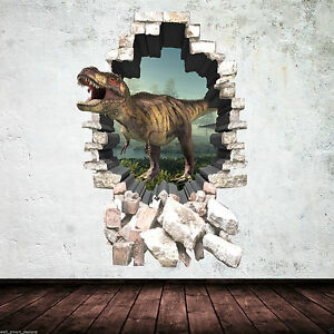 3d Dinosaur Wall Art 3d dinosaur colour t-rex wall art sticker decal mural transfer