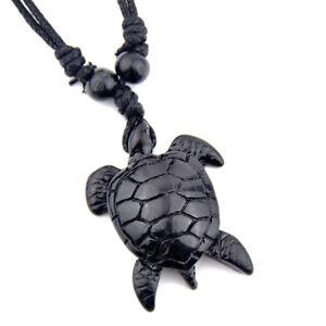 Fashion black sea turtle pendant necklace ebay image is loading fashion black sea turtle pendant necklace aloadofball Images