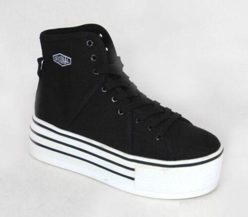 Mesdames womens hi top flatform plateforme cheville sneaker noir formateurs laced 345678
